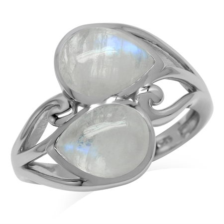 Natural 9x7 MM Rainbow Moonstone 925 Sterling Silver Contemporary Swirl Ring