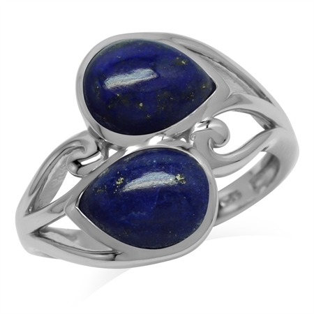 Natural 9x7 MM Lapis Lazuli 925 Sterling Silver Contemporary Swirl Ring