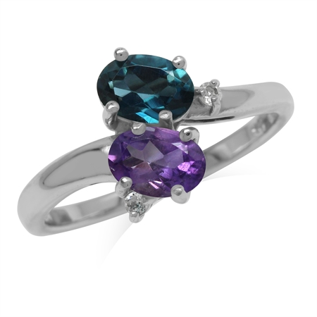 Genuine London Blue Topaz and Amethyst 925 Sterling Silver Gemstone Ring