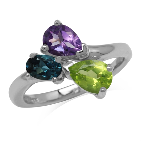 Amethyst Peridot and London Blue Topaz 925 Sterling Silver Birthstone Ring