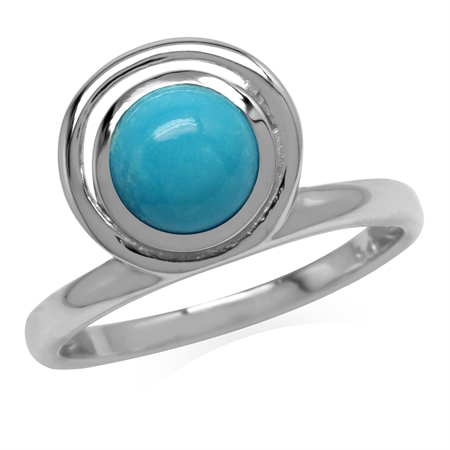 Genuine Arizona Turquoise 925 Sterling Silver Geometric Circle Ring