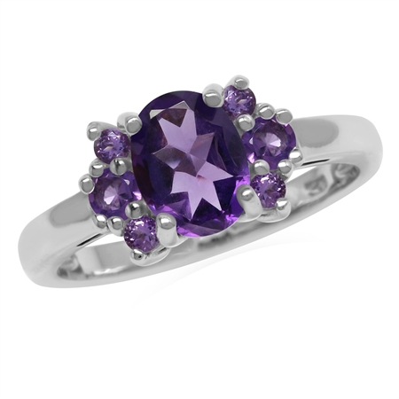 Genuine Oval 8x6 mm Purple African Amethyst 925 Sterling Silver Engagement Ring