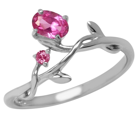 Synthetic Pink Tourmaline Vine Leaf 925 Sterling Silver Ring