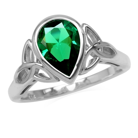 Created Nano Emerald 925 Sterling Silver Triquetra Celtic Knot Ring