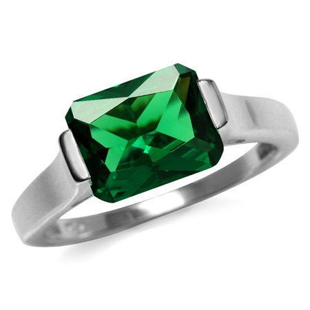 2.6 ct 10x8MM Octagon Green Nano Emerald 925 Sterling Silver Solitaire Ring