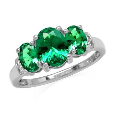 1.8 ctw 3-Stone Green Nano Emerald & White CZ 925 Sterling Silver Ring