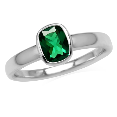 Green Nano Emerald White Gold Plated 925 Sterling Silver Bezel Set Solitaire Ring