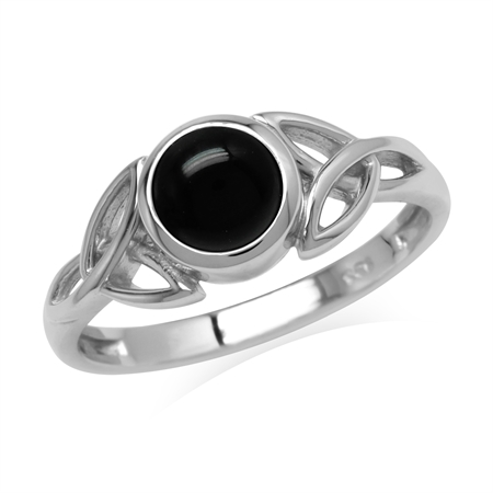 Natural 6 mm Round Black Onyx Stone 925 Sterling Silver Triquetra Celtic Knot Ring
