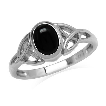 Natural 7x5 mm Oval Black Onyx Stone 925 Sterling Silver Triquetra Celtic Knot Ring