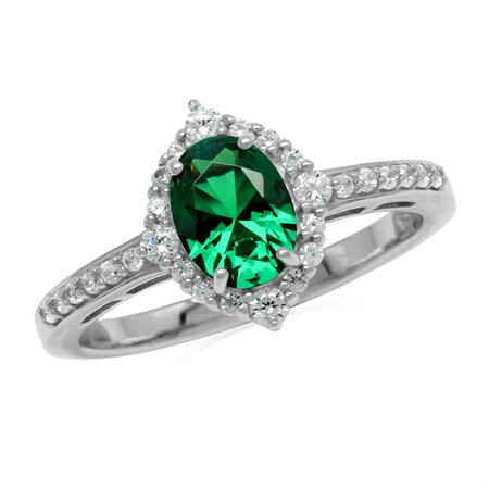 1 Ct. Oval 8x6 mm Nano Green Emerald & White CZ 925 Sterling Silver Engagement Ring