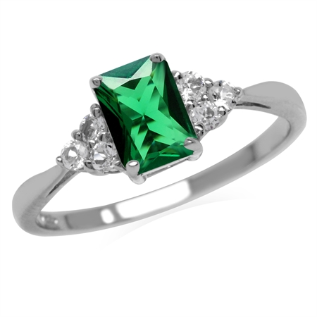 Nano Green Emerald Octagon 7x5 mm 925 Sterling Silver Engagement Ring
