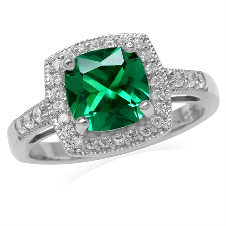 8MM Cushion Nano Green Emerald 925 Sterling Silver Halo Engagement Ring