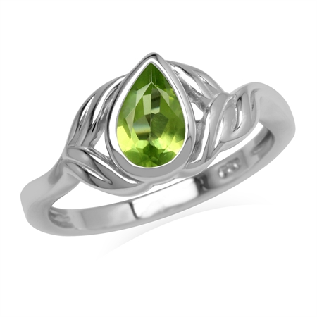 Natural Green Peridot Stone 925 Sterling Silver Leaf Ring