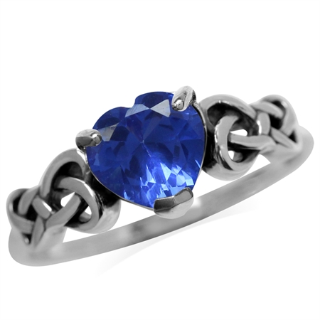 7 mm 1.3 Ct Heart Shape Tanzanite Blue CZ 925 Sterling Silver Celtic Knot Ring