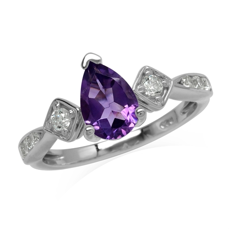 Glamorous Genuine Purple Amethyst Gem 925 Sterling Silver Engagement Ring