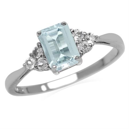 Genuine Light Blue Aquamarine Octagon 7x5 mm 925 Sterling Silver Engagement Ring
