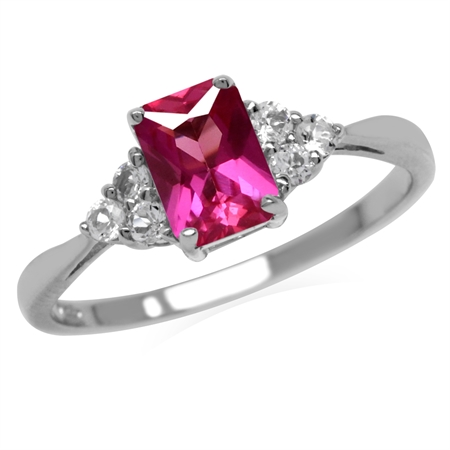 Created Pink Tourmaline Octagon 7x5 mm 925 Sterling Silver Engagement Ring