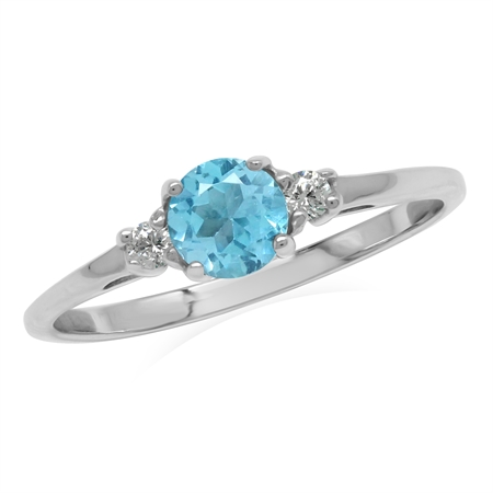 Petite Genuine Swiss Blue Topaz White Gold Plated 925 Sterling Silver Promise Ring
