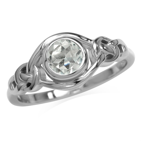 Genuine White Topaz White Gold Plated 925 Sterling Silver Celtic Knot Ring