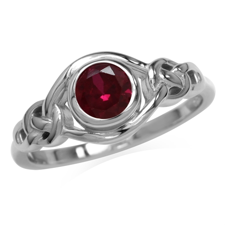 Created Red Ruby White Gold Plated 925 Sterling Silver Celtic Knot Ring