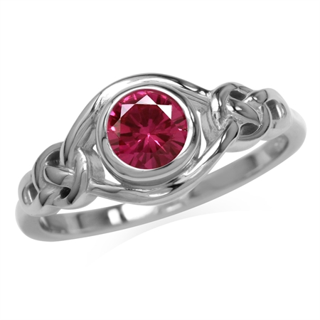 Created Pink Tourmaline White Gold Plated 925 Sterling Silver Celtic Knot Ring