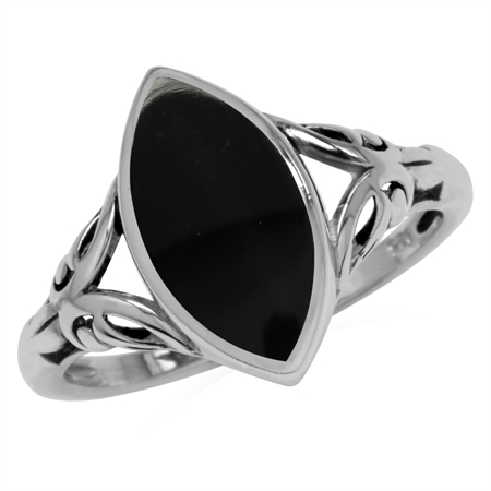 14x7MM Natural Marquise Shape Black Onyx 925 Sterling Silver Filigree Ring