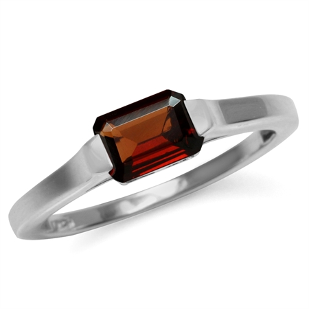 1.1 Ct Natural Octagon Shape Red Garnet White Gold Plated 925 Sterling Silver Solitaire Ring