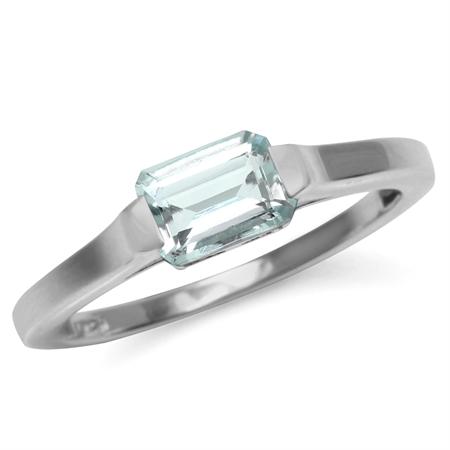 Genuine Light Blue Octagon Aquamarine 925 Sterling Silver Solitaire Gemstone Ring