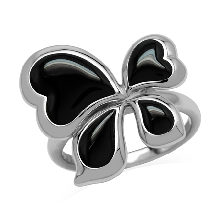 Created Black Onyx 925 Sterling Silver Asymmetrical Butterfly Ring