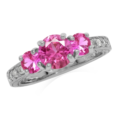 Created Pink Tourmaline 925 Sterling Silver 3-Stone Anniversary Engagement Ring