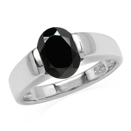 2.1 Ct 9X7mm Black Spinel 925 Sterling Silver Classic Solitaire Gemstone Ring Jewelry for Women