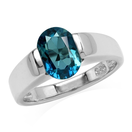 2.2 Ct London Blue Topaz 925 Sterling Silver Classic Solitaire Birthstone Gemstone Ring