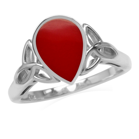 10x7MM Pear Shape Created Red Coral Inlay 925 Sterling Silver Triquetra Celtic Knot Ring