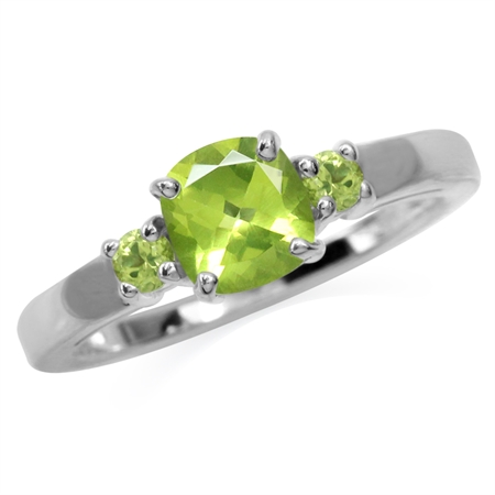 Natural 6 mm Cushion Green Peridot 925 Sterling Silver Engagement Promise Birthstone Ring