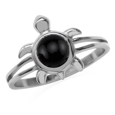 6MM Natural Round Shape Black Onyx 925 Sterling Silver Turtle Fashion Casual Solitaire Ring