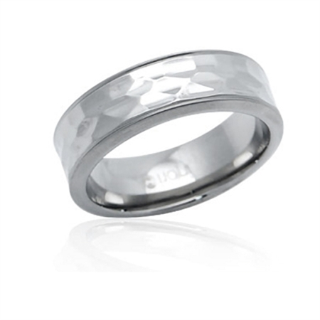 8MM Wide Stainless Steel HAMMERED Band Ring by Inori