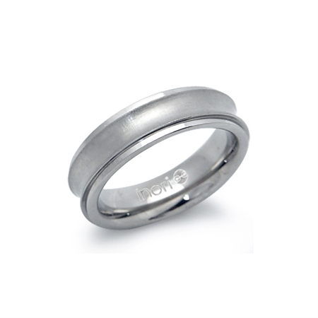 6MM Women Double Texture Stainless Steel Concave Band Ring by Inori