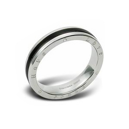 "CZ 2-Tone PVD Stainless Steel ""PEACE, LOVE & HOPE"" Ring"