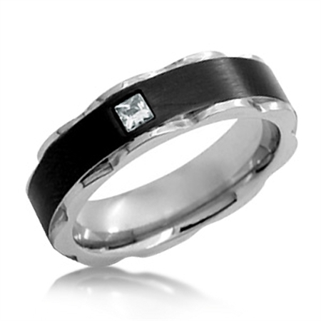 Two-Tone 316L Stainless Steel & CZ Wedding Band Ring