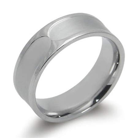 Double Textured Stainless Steel Wide Band Ring