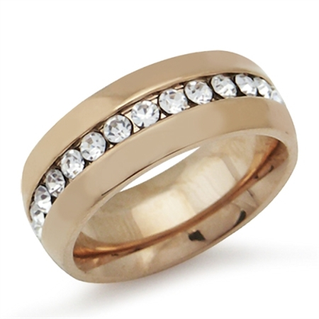 7MM White Crystal Copper Tone Stainless Steel Wedding Eternity Band Ring