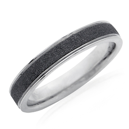 4MM Men Two-Tone Black PVD Stainless Steel Sandblasted Eternity Band Ring