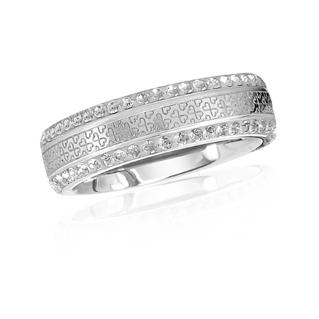 White Crystal Rhinestone 316L Stainless Steel Heart Pattern Band Ring