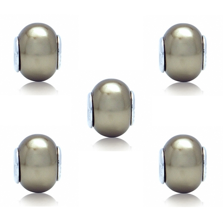 SET of 5 Imitation Golden Pearl 925 Sterling Silver European Charm Bead (Fits Pandora Chamilia)