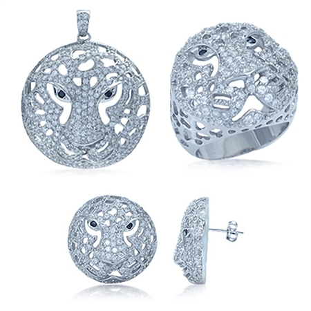 Black & White CZ Ring, Pendant & Earrings Sterling Silver Stylish Tiger Jewelry Set