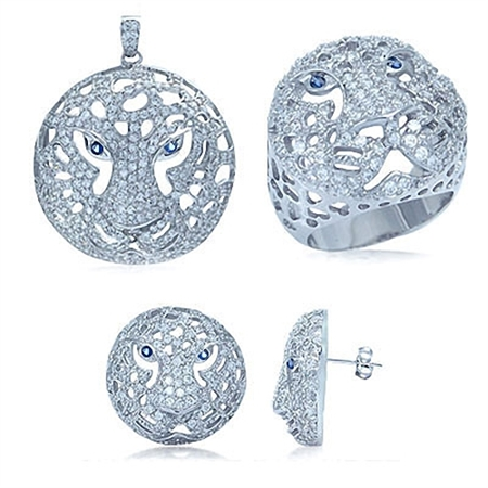 Tanzanite & White CZ Ring, Pendant & Earrings Sterling Silver Stylish Tiger Jewelry Set