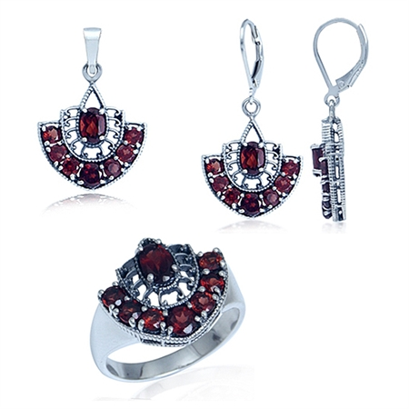 Natural Garnet 925 Sterling Silver Filigree Ring, Earrings & Pendant Set