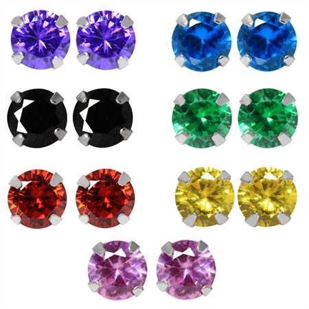 14-Piece 5MM Multi Colored CZ 925 Sterling Silver Stud Earrings & Gift Box Set