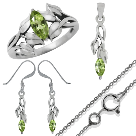 1.33ct. Natural Peridot 925 Sterling Silver LEAF Ring, Earrings & Pendant/Necklace Set