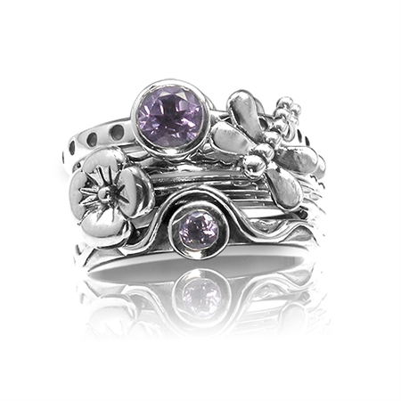 Set of 4 Natural Amethyst 925 Sterling Silver Dragonfly & Flower Stack/Stackable Rings